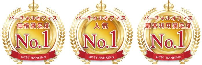 バーチャルオフィス価格満足度ナンバー1、バーチャルオフィス人気ナンバー1、バーチャルオフィス顧客利用満足度ナンバー1