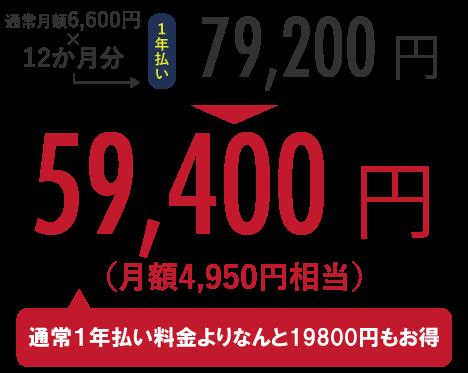 通常月額6,600円×12か月分=79,200円のところ、キャンペーンにて59,400円!(通常半年払い料金よりなんと19,800円もお得)