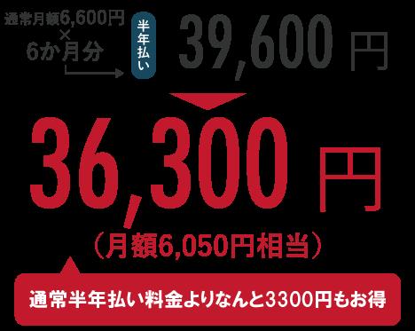 通常月額6,600円×6か月分=39,600円のところ、キャンペーンにて36,300円!(通常半年払い料金よりなんと3,300円もお得)