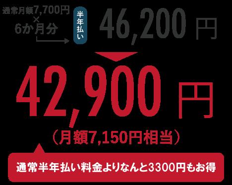 通常月額7,700円×6か月分=46,200円のところ、キャンペーンにて42,900円!(通常半年払い料金よりなんと3,300円もお得)