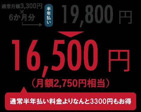 通常月額3,300円×6か月分=19,800円のところ、キャンペーンにて16,500円!(通常半年払い料金よりなんと3,300円もお得)